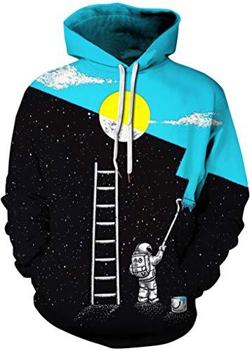 FLYCHEN Men's Digital Print Sweatshirts Hooded Top Galaxy Pattern Hoodie Astronaut Painter SM