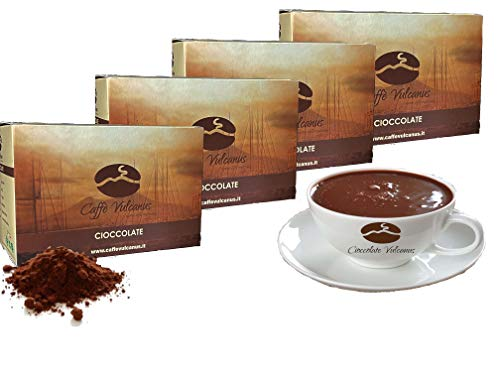 Caffè Vulcanus - Cioccolata calda in 12 gusti - confezione da 48 bustine da 30 gr. Non contiene glutine, no OGM e senza grassi idrogenati