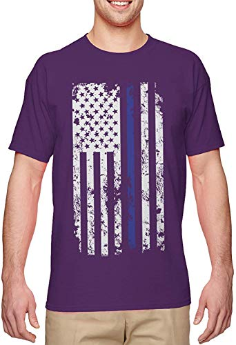 BLINGG Blue Line American Flag Police Support Men's T-Shirt,Purple,XXX-Large