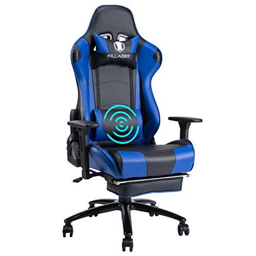 KILLABEE Gaming Stuhl - Verstellbares Massage Lendenkissen Einziehbare Fußstütze Verstellbare Armlehne und hohe Rückenlehne aus Leder im Rennstil für Bürostuhl