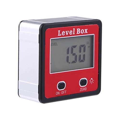Rubyu-123 Digitaler LCD Winkelmesser, Neigungsmesser Inklinometer, Wasserdicht Bevel Box Winkelmessgerät Wasserwaage, Angle Gauge Meter mit Magnets Base Rot