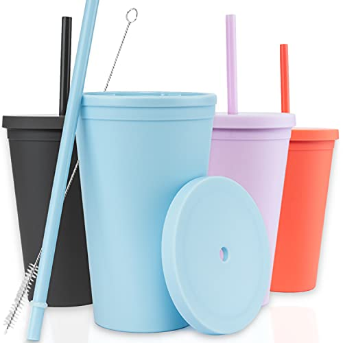 Tumblers with Lids (4 pack) 16oz Colored Acrylic Cups with Lids and Straws   Double Wall Matte Plastic Bulk Tumblers With FREE Straw Cleaner! Vinyl Customizable DIY Gifts (Assorted)