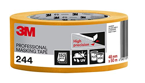 3M 244 Profi Malerband für scharfe Farbkanten, UV-beständig, innen und außen, 48 mm x 50 m