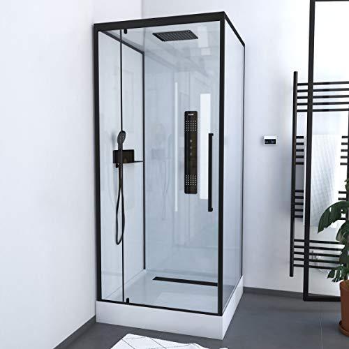 MARWELL Komplettdusche Fertigdusche White Square 90 x 90 x 215 cm – Eckdusche mit Fronteinstieg - Duschkabine mit hochwertigen Aluminiumprofilen - Einstiegshöhe 15 cm