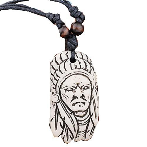 Collar Vintag de hueso de yak tallado a mano, cuentas de madera, cuerda ajustable