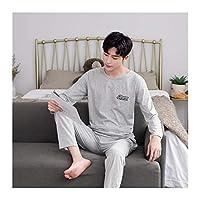Home+ パジャマセット パジャマメンズスーツコットンラージサイズチェック柄長袖カジュアルホームウェア (Color : 6182, Size : M)