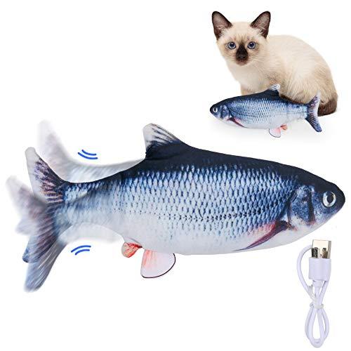 SSAWcasa Elektrisch Fisch Katzenspielzeug, Zappelfisch für Katzen, Interaktives Katzen Spielzeug, Waschbarer Wackelfisch für Katzen, Kitty, und Haustiere zum Spielen, Beißen, Kauen und Treten