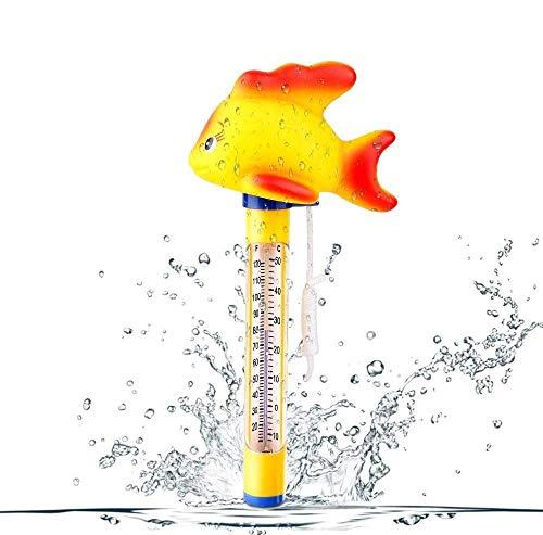 Vegena Termómetro flotante para piscina, termómetro, termómetro de agua para piscinas interiores y exteriores, jacuzzi, tubos calientes y acuarios y estanques de peces, peces dorados