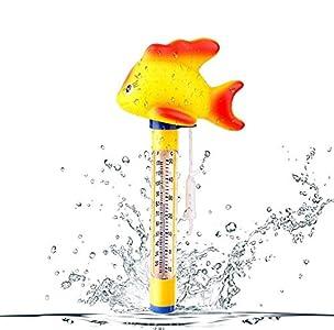 Vegena - Termómetro flotante para piscina, termómetro de agua, para piscinas interiores y exteriores, jacuzzi, acuarios y estanques de peces, pez dorado