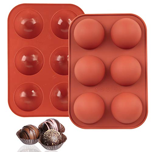 GOHEYI 2 Pcs 6 Holes Silicone Mold for Chocolate, Cake, Jelly, Pudding, Round Shape Half Candy Molds Silicone Molds for Baking (M)