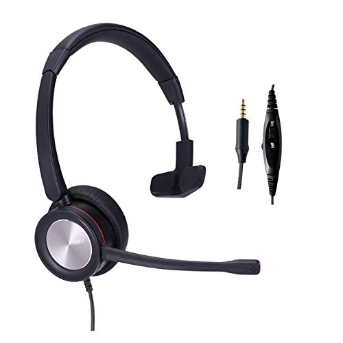 MKJ Corded 3.5mm Phone Headset with Noise Cancelling Microphone Volume Mute Mono for Smartphones, Laptops, Tablets, Cell Phones, Mobile Phones, Computers