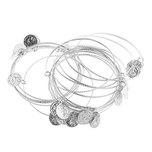 20 Stück Dance Handkette Bauchtanz Armreif Armschmuck Armband Handschmuck Armbänder mit Münzen - Silber