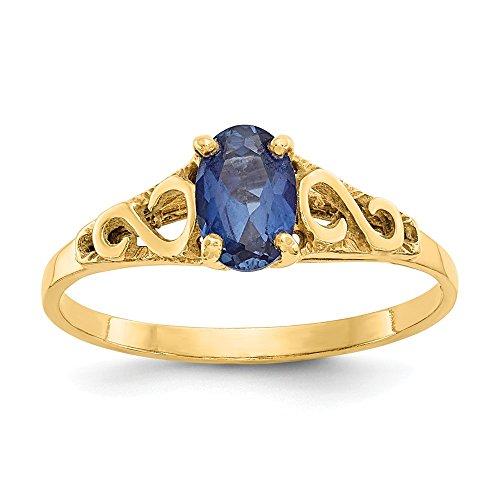 14 quilates pulido zafiro sintético anillo de espinela tamaño J 1/20 joyería regalos para mujeres