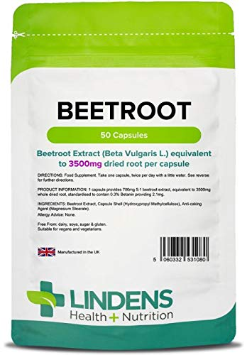Lindens Beetroot Super Strength 3500mg Capsules | 50 Pack | A source of dietary nitrates in an easy to swallow, rapid release capsule