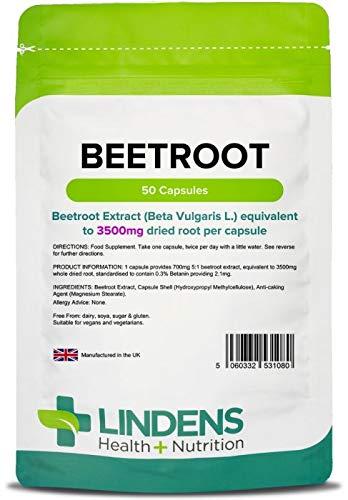 Lindens Betterave super puissante 3500mg en gélules   50 Lot   Source de nitrates alimentaires dans une gélule facile à avaler et à dissolution rapide