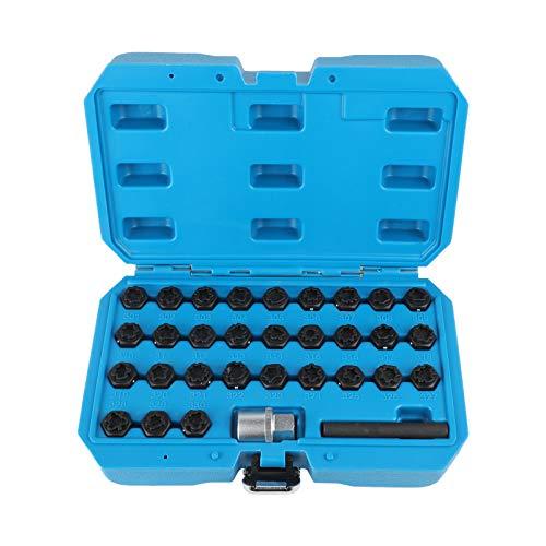 PLAYOCCAR Juego de 32 tuercas de bloqueo de ruedas compatibles con Mercedes Benz, juego de herramientas para tomas de extracción de tornillos antirrobo para vehículos