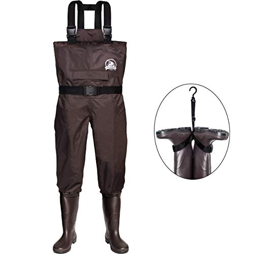 UPGRADE Fishing Chest Waders for Men and Women with Boots,2-Ply Nylon/PVC Waterproof Lightweight Wading & Hunting Bootfoot Wader - Brown, Men 9/Women 11