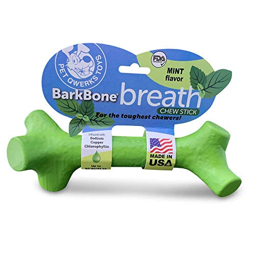 Pet Qwerks Barkbone Mint Flavor Dental Breath Stick Dog Chew Toy - Durable Dog Bones for Aggressive Chewers, Tough Power Chew Toys   Made in USA with FDA Compliant Nylon - for Medium Dogs (BBS5)