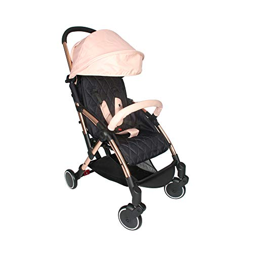 My Babiie MBX4 Signature Billie Faiers MBX4 Ultra Light Stroller, Durable, Easy Manoeuvre and Storage Birth to Maximum 15kg, W/Cup Holder, Shoulder Carry Strap, and Raincover, Rose Gold Blush