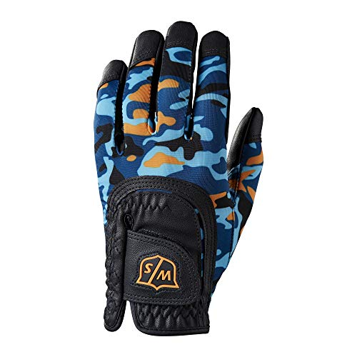 Wilson Staff Golfhandschuh, Fit-All JR Glove, One-Size, Für Jugendliche, Linke Hand, Blau/Orange, Mikrofaser-Synthetik, WGJA00915