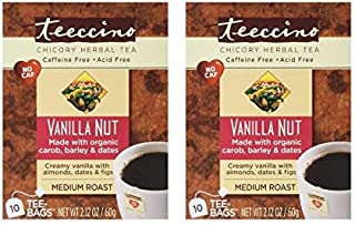 Teeccino Herbal Tea – Vanilla Nut – Roasted Chicory Tea Caffeine Free Acid Free | Prebiotic Chicory Coffee Alternative, 10...