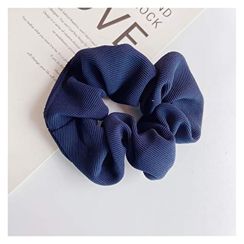 Yyqfbh Hair ropes Hair ring literary monochrome tie hair rope female ball Hair accessories (Color : Navy, Size : Fits all)