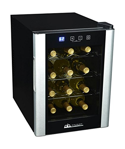 Avalon Bay AB-Wine12S Wine Cooler, 12 Bottle, Black/Silver