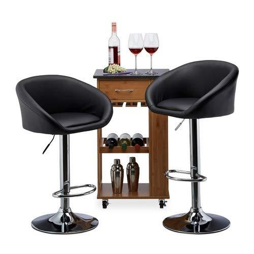 Relaxdays Barkruk 2-delige set, in hoogte verstelbaar, draaibaar, tot 120 kg, kunstleer, metaal, HxBxD: 104 x 55 x 39 cm, zwart
