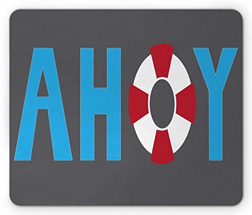 KKs-Shop Mauspad Ahoy, Captain Kalligraphie-Mauspad mit Thema Seemanne, Rettungsring, Gummi, rutschfest, rechteckig