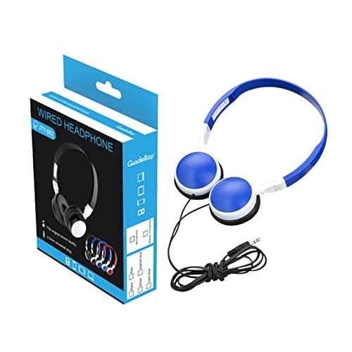 Auriculares con cable, auriculares plegables suaves para juegos que reducen el ruido del sonido estéreo, auriculares ajustables en la oreja Jack de 3,5 mm