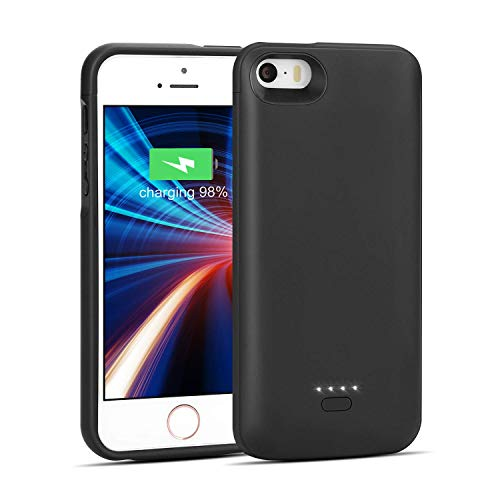 Wavypo iPhone 5/5S/SE Battery Case, 4000mAh Charging Case Ultra Slim Extended Rechargeable Charger Case External Battery Pack Portable Power Protective Case for iPhone 5, 5S, SE-Black (NOT FIT 5C)