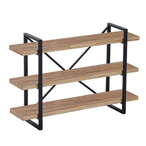 Estanteria Baja con 3 Estantes, Modelo Plank, Acabado en Roble Boreal y Estructura Metalica Color Negro, Medidas: 120 cm (Ancho) x 80 cm (Alto) x 30 cm (Fondo)
