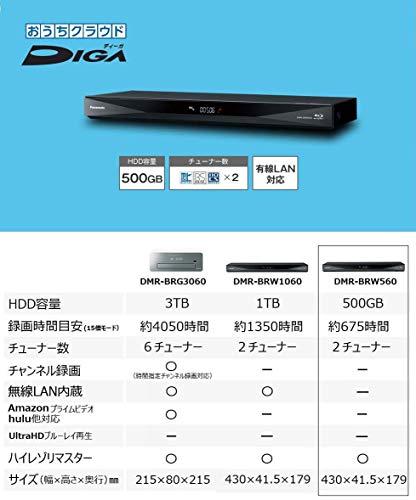 パナソニック500GB2チューナーブルーレイレコーダー4Kアップコンバート対応おうちクラウドDIGADMR-BRW560