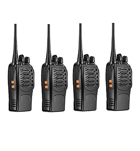 Juego de 2/4 Walkie Talkie Profesional Recargable 16 Canales CTCSS DCS Radiocomunicación 1500mAh con Cargador (Juego de 4 terminales)