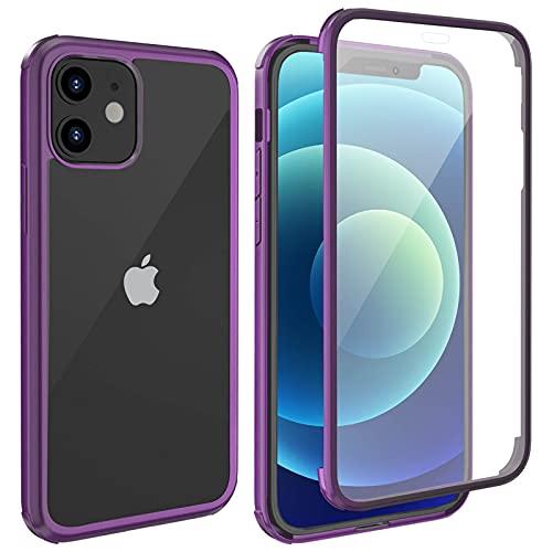 LOFTer Ganzkörper Schutzhülle Kompatibel mit iPhone 12 Mini Hülle 360 Grad Handyhülle Eingebauter Bildschirmschutzfolie Transparent Durchsichtig Hülle für iPhone 12 Mini 5.4 Zoll 5G Violett