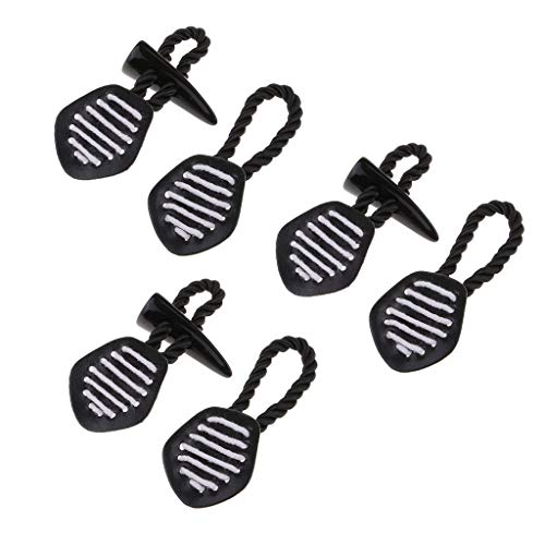 chiwanji 3 Pair Vintage Black Leather Resin Horn Toggle Button for