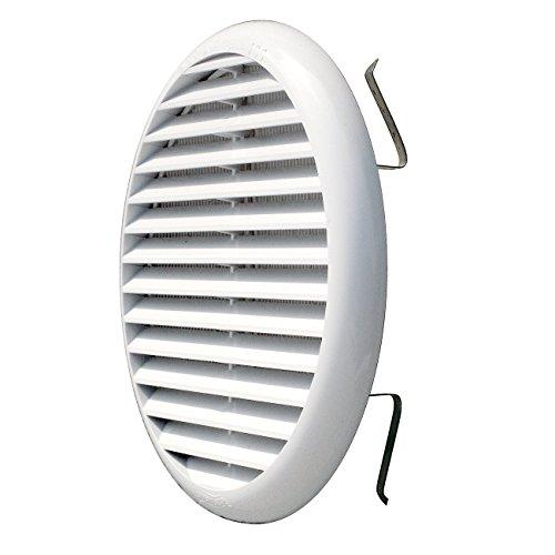 La Ventilazione TUR160B TUR160B-Y Griglia Plastica con Molle, Bianco, 175 mm