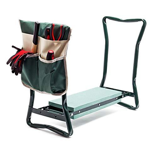 Garten Kniestuhl klappbar mit Tasche gepolsterte Fläche Knien & Sitzen, Kniebank belastbar bis 150kg