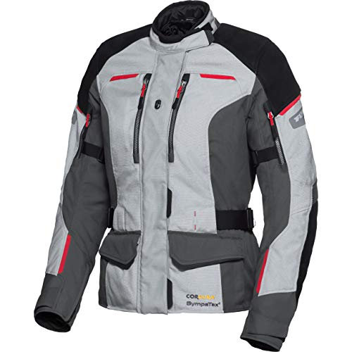 FLM Motorradjacke mit Protektoren Motorrad Jacke Touren Damen Leder-/Textiljacke 4.0 grau/schwarz XL, Tourer, Ganzjährig, Leder/Textil