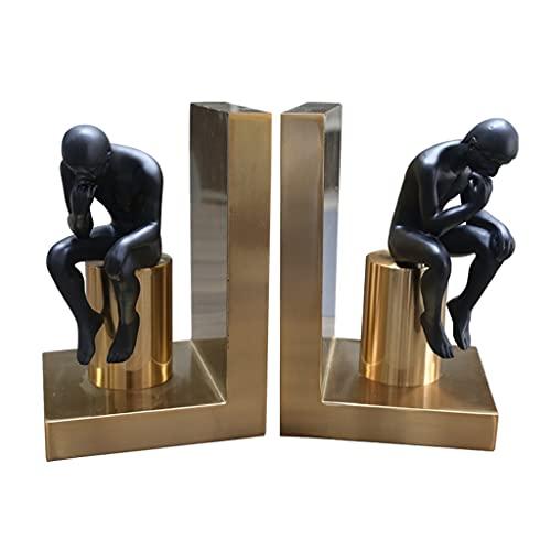 MagiDeal Extremos de Libro Decorativos, Soportes de Estatua de Pensador de Hierro Resistente Soportes de estantería magnética Soporte de estantería