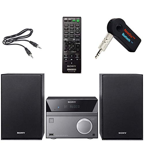 Sony Compact Stereo Sound System for House with Bluetooth Wireless Streaming NFC, Micro Hi-Fi 50W, CD/DVD Player with Separate Speakers, FM Radio, USB Playback and Charge + NeeGo Bluetooth Receiver