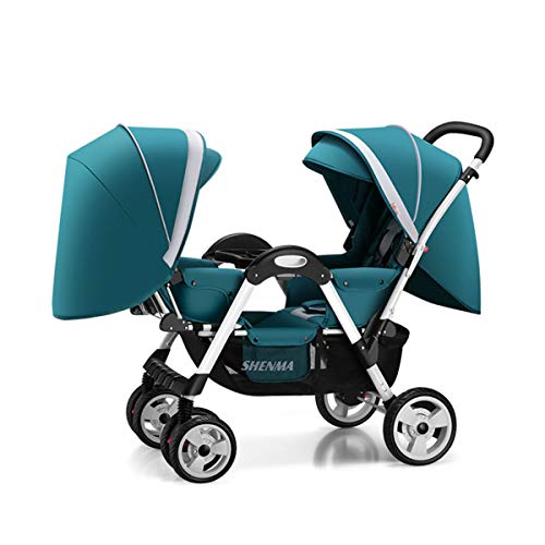 MOIMK Lightweight Double Pushchair for Twins, Lying Position Tandem Travel System with 360° Swivel Wheels from Birth to 3.5 Years, 0-15 kg,Green