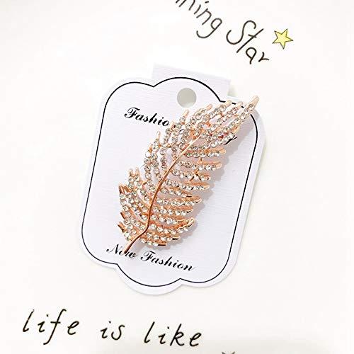 FimGGe Broche de alta calidad Camellia para mujer con diamantes de imitación de perlas broche de cárdigan suéter ramillete vestido ropa, hojas doradas 17