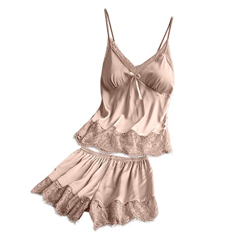 Deloito Damen Sexy Tiefer V-Ausschnitt Nachthemd Simulation Silk Pyjamas Lace Satin Leibchen Tops Nachtwäsche Dessous Bowknot Shorts Schlafanzug Set (Beige,Large)