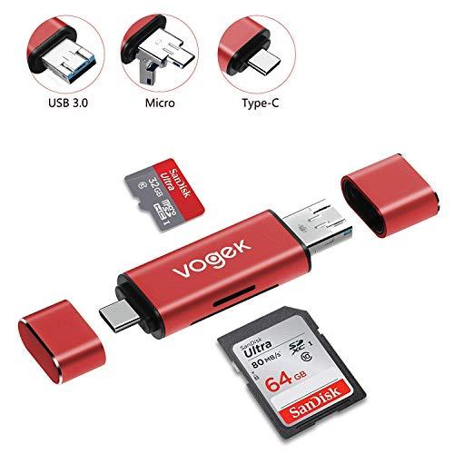 TF/SD USB A 3.0 Kartenleser, Vogek 3 in 1 Externe Kartenlesegerät mit USB A Micro USB und USB A Weiblich für PC/Laptop/Smartphones/Tablets