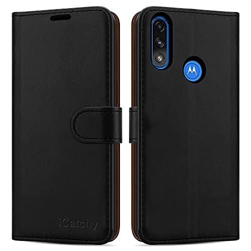 iCatchy Schutzhülle für Motorola Moto E7i Power, Leder, Brieftaschenformat, Magnetverschluss, Standfunktion, kompatibel mit Motorola Moto E7i Power, Schwarz