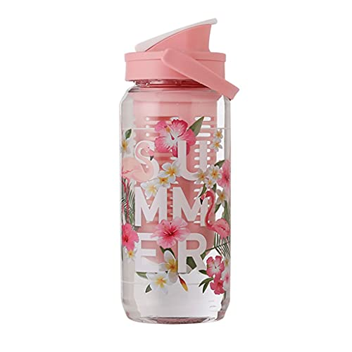 DWQ Botella de Agua portátil de Gran Capacidad con Filtro extraíble para Hombres y Mujeres, Botellas de Beber Lindas, 750 ml / 900ml (Color : Pink, tamaño : 750ml)