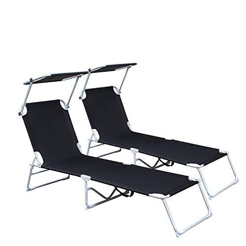 wolketon 2 stück Sonnenliege, Gartenliege liegestuhl strandliege sonnenliege klappbar Freizeitliege Rückenlehne und Sonnendach verstellbar Freizeitliege, 189x55x27 cm, bis 110kg, Schwarz