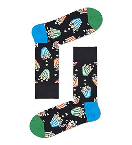 Happy Socks Popcorn Sock Calzini, Black, 4-11 (Manufacturer Size:41-46) Uomo