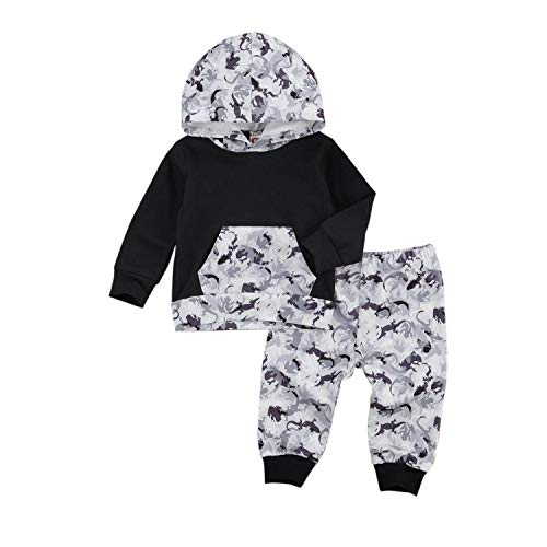 Kids 2Pcs Sweater Suit Little Boy Girl Dinosaur Print Long Sleeve Hooded Hoodie Top with Pocket Pants Spring Autumn Outfits